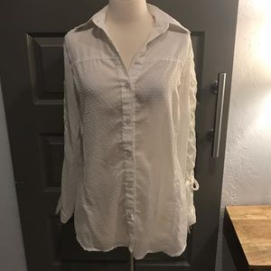 Vintage Sheer White Button Down Braided Sleeve